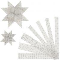 Strisce per stelle di carta, L: 44+78 cm, diam: 6,5+11,5 cm, L: 15+25 mm, argento, bianco, 48 strisce/ 1 conf.