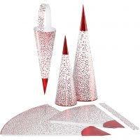 Coni, H: 18+28 cm, 120 g, rosso, bianco, 3 pz/ 1 conf.
