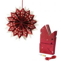 Stella con sacchetti di carta, 200 g, rosso, 1 set