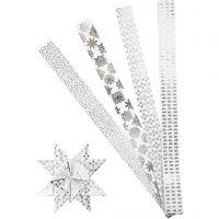 Strisce di carta per stelle, L: 100 cm, diam: 18 cm, L: 40 mm, argento, bianco, 40 strisce/ 1 conf.
