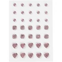 Brillantini, cerchio, quadrato, cuore, misura 6+8+10 mm, rosato, 35 pz/ 1 conf.