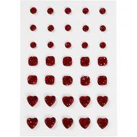 Brillantini, cerchio, quadrato, cuore, misura 6+8+10 mm, rosso, 35 pz/ 1 conf.