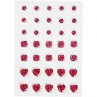Brillantini, cerchio, quadrato, cuore, misura 6+8+10 mm, rosa, 35 pz/ 1 conf.