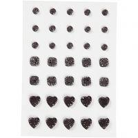 Brillantini, cerchio, quadrato, cuore, misura 6+8+10 mm, nero, 35 pz/ 1 conf.