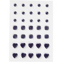 Brillantini, cerchio, quadrato, cuore, misura 6+8+10 mm, blu, 35 pz/ 1 conf.