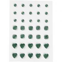 Brillantini, cerchio, quadrato, cuore, misura 6+8+10 mm, verde, 35 pz/ 1 conf.
