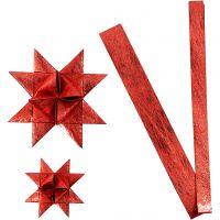 Strisce di carta per stelle , L: 44+78 cm, diam: 6,5+11,5 cm, L: 15+25 mm, rosso, 32 strisce/ 1 conf.