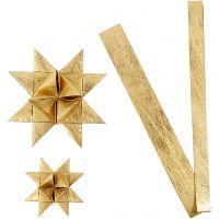 Strisce di carta per stelle , L: 44+78 cm, diam: 6,5+11,5 cm, L: 15+25 mm, oro, 32 strisce/ 1 conf.