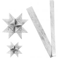 Strisce di carta per stelle , L: 44+78 cm, diam: 6,5+11,5 cm, L: 15+25 mm, argento, 32 strisce/ 1 conf.