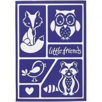 Stencil flessibile, little friends, 21x14,8 cm, 1 pz