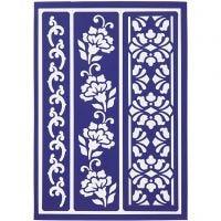 Stencil flessibile, bordi floreali, 21x14,8 cm, 1 pz