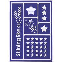 Stencil flessibile, stelle, 21x14,8 cm, 1 pz