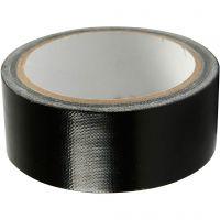 Nastro adesivo telato, L: 38 mm, nero, 25 m/ 1 rot.