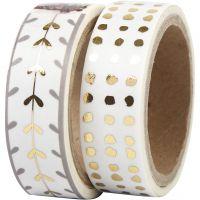 Washi Tape, cuori e pois - lamina, L: 15 mm, oro, bianco, 2x4 m/ 1 conf.