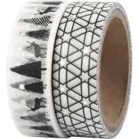 Washi Tape, renne e motivi fantasia - lamina, L: 15 mm, 2x4 m/ 1 conf.
