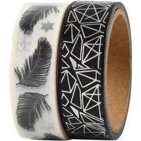 Washi Tape, piume e motivi fantasia - lamina, L: 15 mm, 2x4 m/ 1 conf.