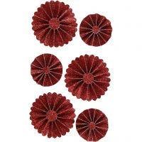 Coccarde in carta, diam: 35+50 mm, rosso glitter, 6 pz/ 1 conf.