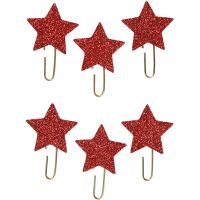 Clip metalliche, Stella, diam: 30 mm, rosso glitter, 6 pz/ 1 conf.