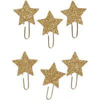 Clip metalliche, Stella, diam: 30 mm, oro glitter, 6 pz/ 1 conf.