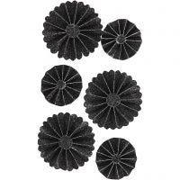 Coccarde in carta, diam: 35+50 mm, nero glitter, 6 pz/ 1 conf.