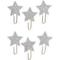 Clip metalliche, Stella, diam: 30 mm, argento glitter, 6 pz/ 1 conf.