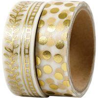 Washi Tape, vite e pois - lamina, L: 15 mm, oro, 2x4 m/ 1 conf.