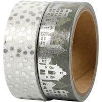 Washi Tape, casette e pois - lamina, L: 15 mm, argento, 2x4 m/ 1 conf.