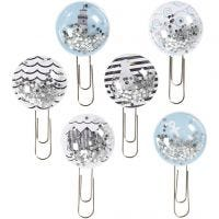 Shaker clips, L: 49 mm, diam: 25 mm, nero, blu, grigio, bianco, 6 pz/ 1 conf.