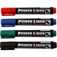 Power Liner, ampiezza tratto 1,5-3 mm, nero, blu, verde, rosso, 4 pz/ 1 conf.