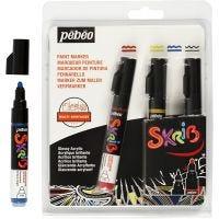 Marcatore Skrib, ampiezza tratto 4 mm, nero, blu, rosso, giallo, 4 pz/ 1 conf.