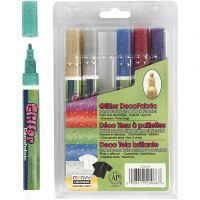 Pennarelli Deco glitter per stoffa, ampiezza tratto 3 mm, colori brillanti, 6 pz/ 1 conf.
