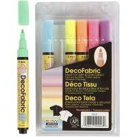 Pennarelli per stoffa, ampiezza tratto 3 mm, colori neon, 6 pz/ 1 conf.