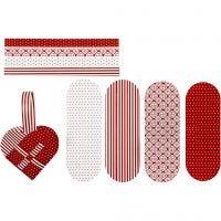Cuori intrecciati, misura 14,5x10 cm, 120 g, rosso, bianco, 8 set/ 1 conf.