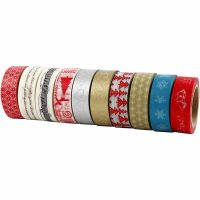 Masking Tape, Natale, L: 15 mm, 10x10 m/ 1 conf.