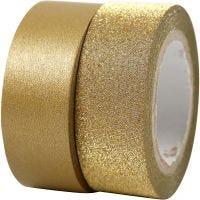 Nastro adesivo decorato, L: 15 mm, oro, 2 rot./ 1 conf.