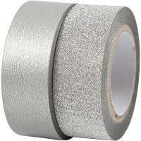 Nastro adesivo decorato, L: 15 mm, argento, 2 rot./ 1 conf.