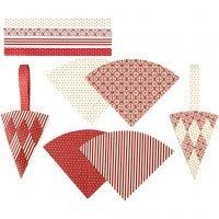 Coni intrecciati, H: 19,3 cm, L: 9,2 cm, rosso, bianco, 8 set/ 1 conf.