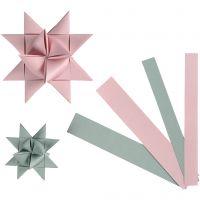 Strisce di carta per stelle, L: 15+25 mm, diam: 6,5+11,5 cm, 60 strisce/ 1 conf.