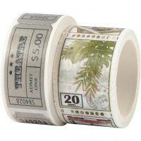 Washi Tape , Motivo biglietto e natura, L: 3+5 m, L: 20+25 mm, 2 rot./ 1 conf.