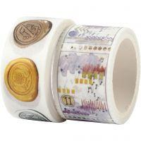 Washi Tape , Motivo paesaggistico e lumache, L: 3+5 m, L: 20+25 mm, 2 rot./ 1 conf.