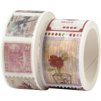 Washi Tape , Motivo a timbri e floreale, L: 3+5 m, L: 20+25 mm, 2 rot./ 1 conf.