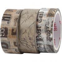 Washi Tape , Lettera,corrispondenza, L: 5 m, L: 15 mm, 3 rot./ 1 conf.