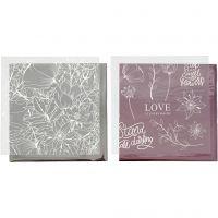 Pellicola decorativa e foglio trasferibile, fiori, 15x15 cm, rosato, argento, 4 fgl./ 1 conf.