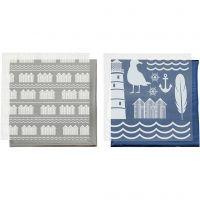 Deco Foil e fogli trasferibili, faro, 15x15 cm, blu, argento, 2x2 fgl./ 1 conf.
