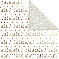Carta fantasia, renne e pois, 30,5x30,5 cm, 180 g, oro, 3 fgl./ 1 conf.