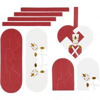 Cuori intrecciati, misura 12,5x11,5 cm, oro, rosso, bianco, 8 set/ 1 conf.