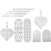 Cuori intrecciati, misura 12,5x11,5 cm, 120 g, argento, bianco, 8 set/ 1 conf.