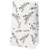 Buste carta, rami di abete con sfere natalizie, H: 21 cm, misura 6x12 cm, verde, rosso metallico, bianco, 8 pz/ 1 conf.