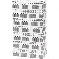 Buste carta, H: 21 cm, misura 6x12 cm, 80 g, nero, bianco, 8 pz/ 1 conf.
