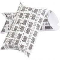 Scatola regalo pieghevole, bathhouse, misura 23,9x15x6 cm, 300 g, nero, bianco, 3 pz/ 1 conf.